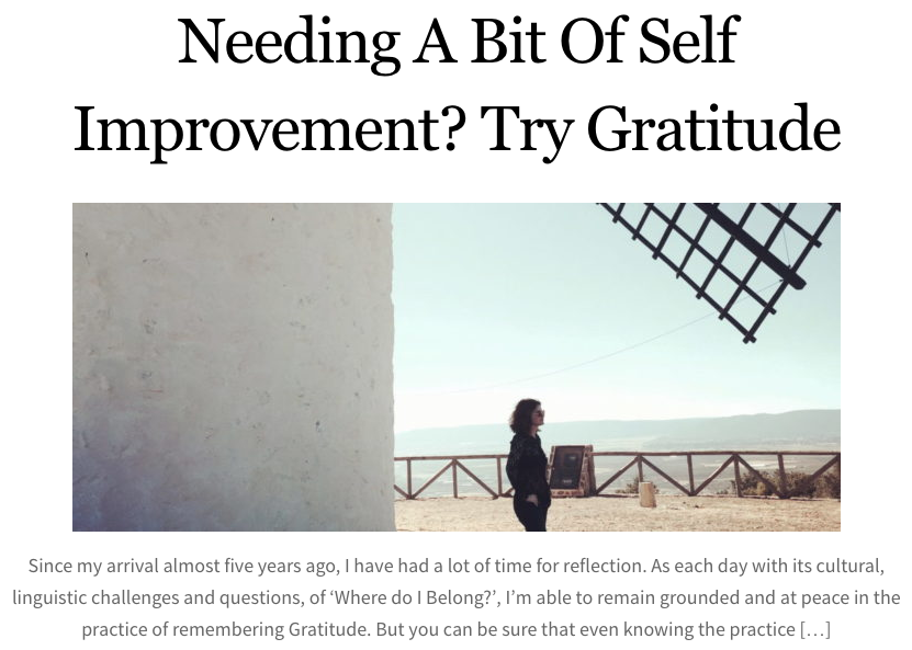 Need a bit of self-improvement?  Try gratitude.